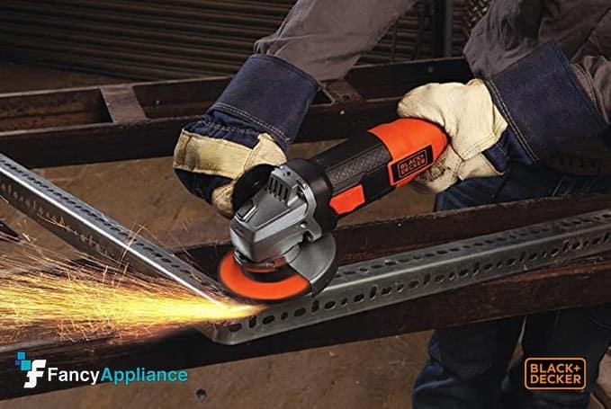 Angle grinder sanding metal